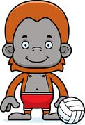 Cartoon Smiling Beach Volleyball Player Orangutan Stock Illustration