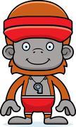 Cartoon Smiling Lifeguard Orangutan - stock illustration