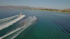 Aerial View Of Water Skier - stock footage