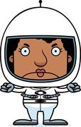 Cartoon Angry Astronaut Woman Stock Illustration