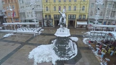 Ban Jelacic monument in Zagreb - aerial - stock footage