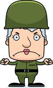 Cartoon Angry Soldier Woman Stock Illustration