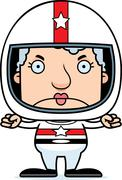 Cartoon Angry Race Car Driver Woman - stock illustration