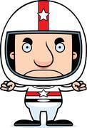 Cartoon Angry Race Car Driver Man - stock illustration