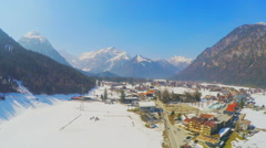 Beautiful winter landscape, peaceful mountain resort town, dolly zoom animation Stock Footage