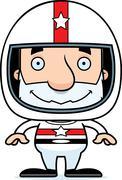 Cartoon Smiling Race Car Driver Man - stock illustration