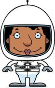 Cartoon Smiling Astronaut Woman Stock Illustration