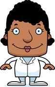 Cartoon Smiling Doctor Woman Stock Illustration