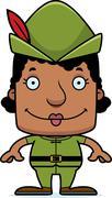 Cartoon Smiling Robin Hood Woman - stock illustration