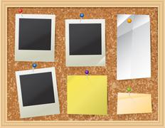 Cork Board with Pinned Paper and Photos - stock illustration