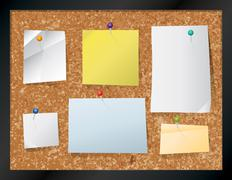 Stock Illustration of Cork Board with Pinned Paper Illustration