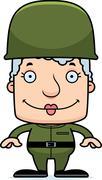 Cartoon Smiling Soldier Woman Stock Illustration
