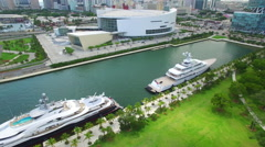 Downtown Miami scene aerial video Stock Footage