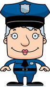 Cartoon Smiling Police Officer Woman Stock Illustration