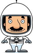Cartoon Smiling Astronaut Man - stock illustration