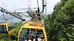 Zhejiang,China-August 18,2015:Cable Car Ride in China mountain and lake area Stock Footage