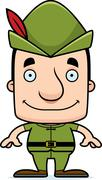 Cartoon Smiling Robin Hood Man Stock Illustration