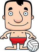 Cartoon Smiling Beach Volleyball Player Man - stock illustration