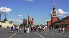 General view (in 4k) across Red Square, Moscow, Russia. Stock Footage