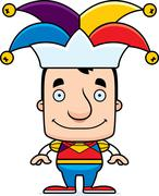Cartoon Smiling Jester Man Stock Illustration