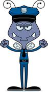 Stock Illustration of Cartoon Angry Police Officer Fly