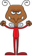 Cartoon Angry Mosquito In Pajamas - stock illustration