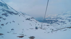 Mountain cable car passenger point of view, trip to ski resort, extreme sport - stock footage
