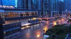 Toronto downtown condo evening blue hour Stock Footage