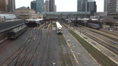 Toronto go train moving slowly on track Stock Footage