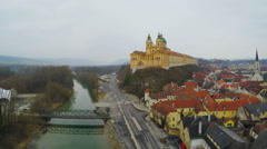 Aerial view of Melk Abbey, beautiful baroque architecture, old European city Stock Footage