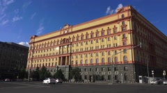 The former Lubyanka Prison (in 4k) and now the FSB HQ, Moscow, Russia. Stock Footage