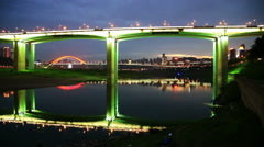Bridge  over changjiang river, skyline of chongqing city at night Stock Footage