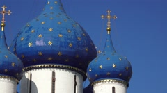 The blue domes of the Nativity of the Virgin Cathedral (in 4k), Suzdal, Russia. Stock Footage