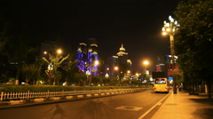 Street and traffic in chongqing city at night Stock Footage