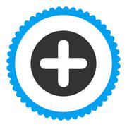 Create flat blue and gray colors round stamp icon Stock Illustration