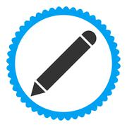 Pencil flat blue and gray colors round stamp icon Stock Illustration