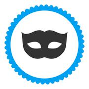 Privacy Mask flat blue and gray colors round stamp icon - stock illustration