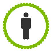 Man flat eco green and gray colors round stamp icon - stock illustration