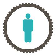 Man flat grey and cyan colors round stamp icon - stock illustration