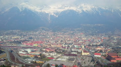 Spectacular panorama of city Innsbruck  and Nordkette Mountain Range in Austria Stock Footage