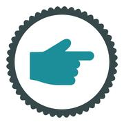 Index Finger flat soft blue colors round stamp icon - stock illustration