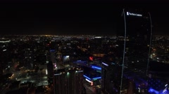 Ritz carlton hotel downtown los angeles drone night lights Stock Footage