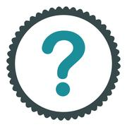Question flat soft blue colors round stamp icon - stock illustration