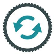 Refresh Ccw flat soft blue colors round stamp icon - stock illustration