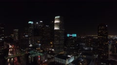 Downtown los angeles city lights drone night Stock Footage
