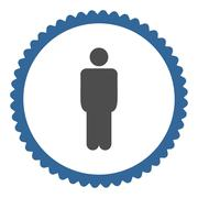 Man flat cobalt and gray colors round stamp icon - stock illustration