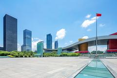 Empty square with a landmark of shenzheng in china Stock Photos