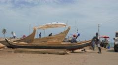 Ghana african poor village fisherman boats 4K Stock Footage