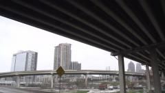 Driving Under Overpass in Dallas, Texas filmed in Super Slow Motion - stock footage