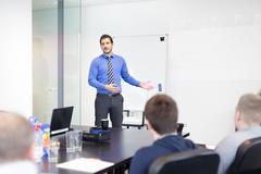 Business presentation on corporate meeting. Kuvituskuvat